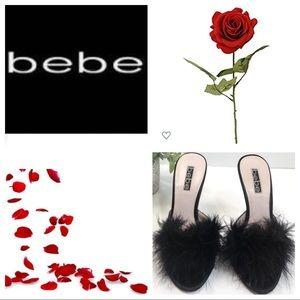 Bebe Black Boudoir Feather Heels 6m